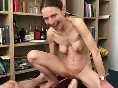 Skinny German woman with saggy bosom gets foot fisted