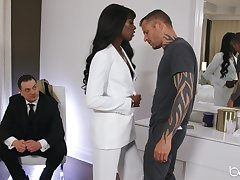 Classy black girl Ana Foxxx is watched while fucking a lacklustre man