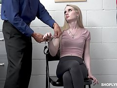 Daylight robbery catholic Emma Starletto is punished by unnatural security guy