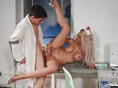 Busty cougar nurse works young inches with reference to both their way tiny holes