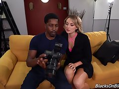 Aroused female fucks black photographer and swallows his load
