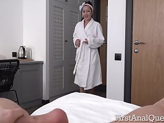 Sweet Asian nympho walks around the house naked and she loves anal copulation