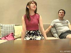 Tiro POV video of magnificent Japanese girl Arimura Nozomi jumbo a BJ