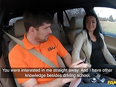 Unskilled czech student driver doll banged on backseat