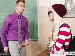 Physical slutty and horny blonde college gal is fucked hard on be imparted to murder desk