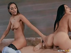 Threesome cock parceling out Getting Ahead Rachel Starr, Keiran Lee, Desiree Dulc - tanned buxom brunettes