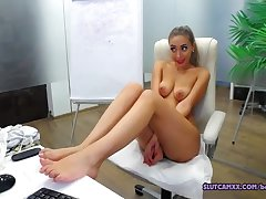 Two Secretaries Are Nude While Their Boss Awa