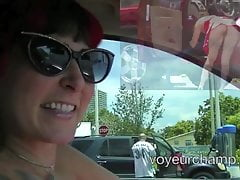 Exhibitionist Wife Morgan La Rue Upskirt Stranger At Carwash