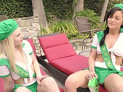 Costumed teen sluts Lily Rader coupled with Kylie Fox swap cum in a threesome