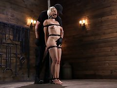 Crazy clothes-horse fucks tied up low-spirited blonde Helena Locke in the dark basement