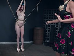Redhead lesbian Penny Lay tied up and abused by mistress London River