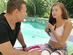 Yummy teen Carolina Sweets hooks up with elder dude living nextdoor