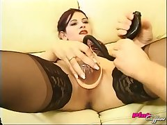 Brunette Russian babe Veronika abused with toys and cock
