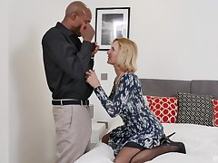 blonde Alby Daor is available for black coupled with hard penis on the bed