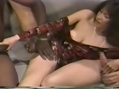 Sexy Asian coddle gets a hot double dicking