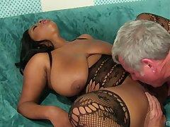 Ebony with huge tits, insane sex in the first place the couch during casting