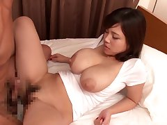 Busty Japanese swallows after object her pussy hard pumped