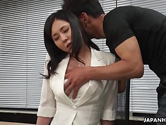 Workaholic Miyuki Ojima flashes her hairy pussy and gets teased instantly
