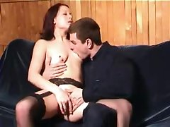 Sex starved diva respecting stockings enjoys a doggystyle sexual connection action on the couch