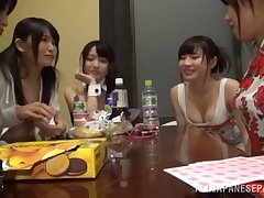 Two Japanese lesbians pleasuring a babe apropos small tits