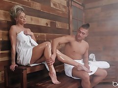 Steamy sauna anal sex with dear blonde pornstar Jessa Rhodes
