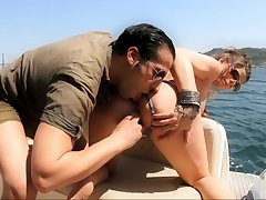 Pussy fingering and ass fucking on the private boat with Shirley