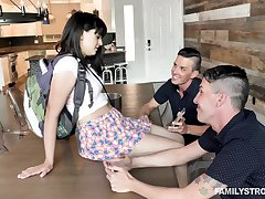 Leda enjoying the fucking with two men coupled with that cum crazy mademoiselle is hot
