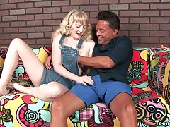 Older guy enjoys a handjob from blonde slut Krystal Orchid