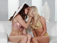 Smooth oral for the angels after they strip