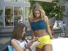 Teasing by the pool ends with lesbian sex - Heather Starlet plus Delilah Blue
