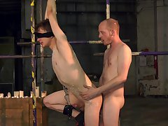 Energized twink endures rough anal in kinky BDSM play