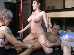 Nasty group sex troop with amateur sluts Yvonne and Lucie Jenilova