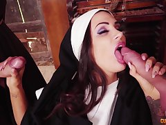 Nun spins two big dicks in perfect fetish
